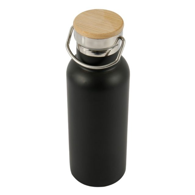 Black Stainless Steel Water Bottle with Bamboo Lid