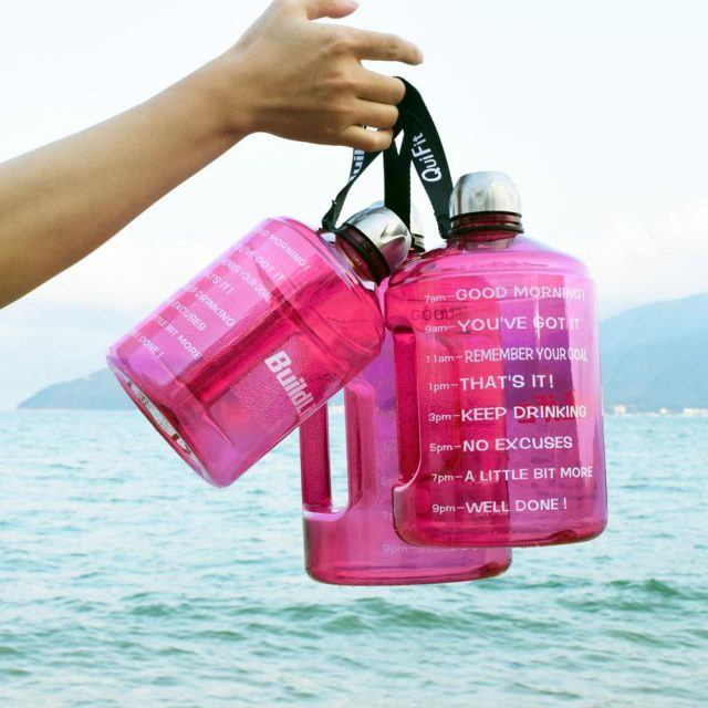 Colorful Gallon Water Bottle with Time Marker