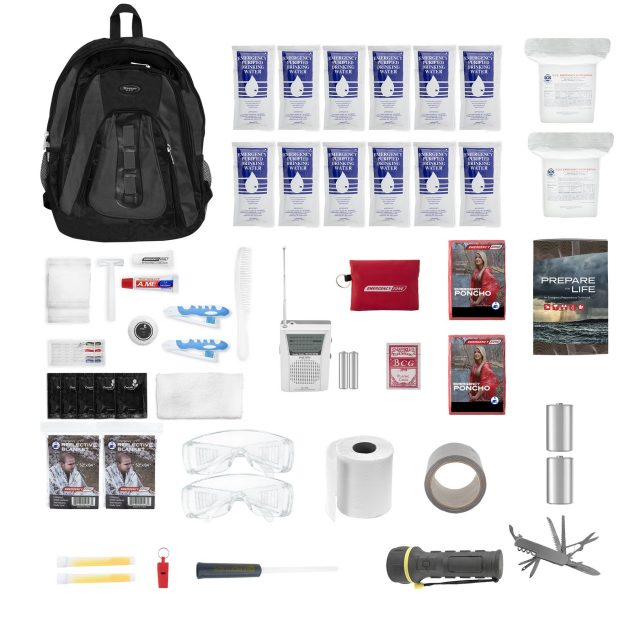 The Essentials Complete 72-Hour Survival Kit – 2 Person: Black or Red Backpack
